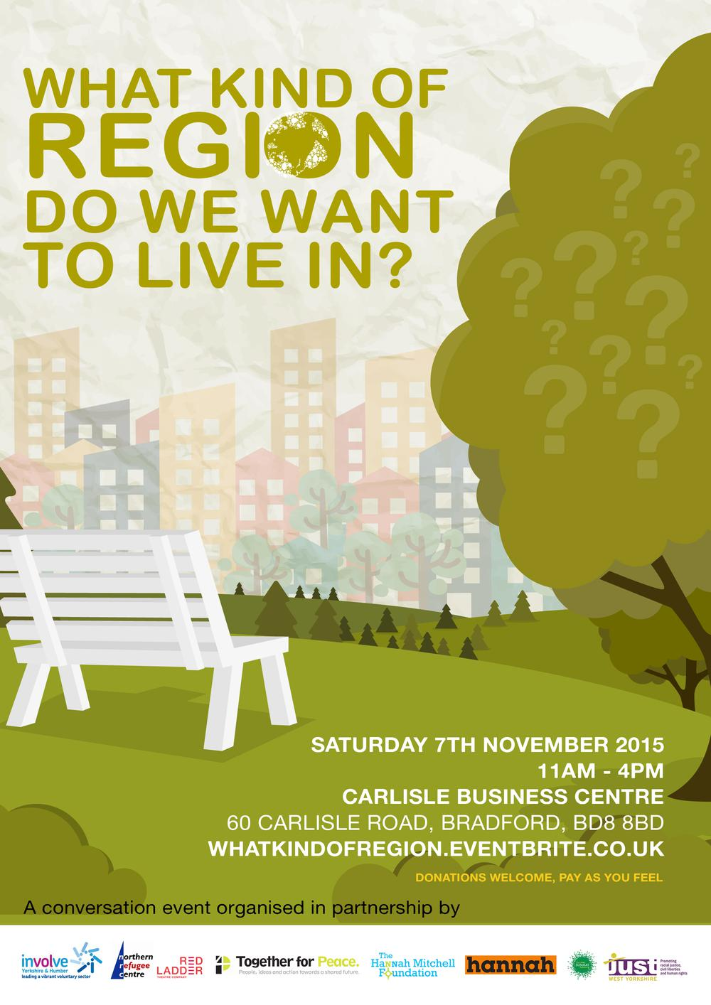 Image of the flyer for the What Kind of Region Do We Want To Live In? event in Manningham, Bradford