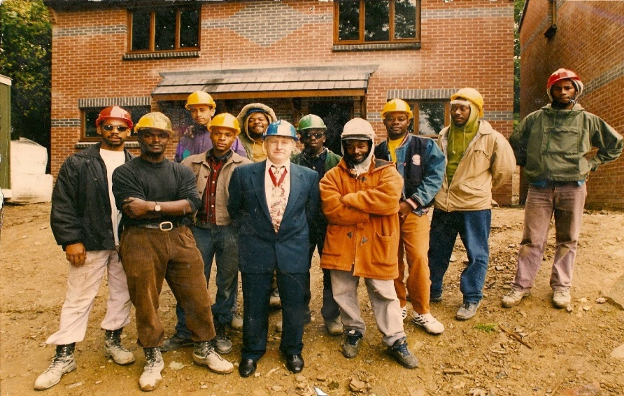 A group African Caribbean men from Chapeltown in Leeds on a building site